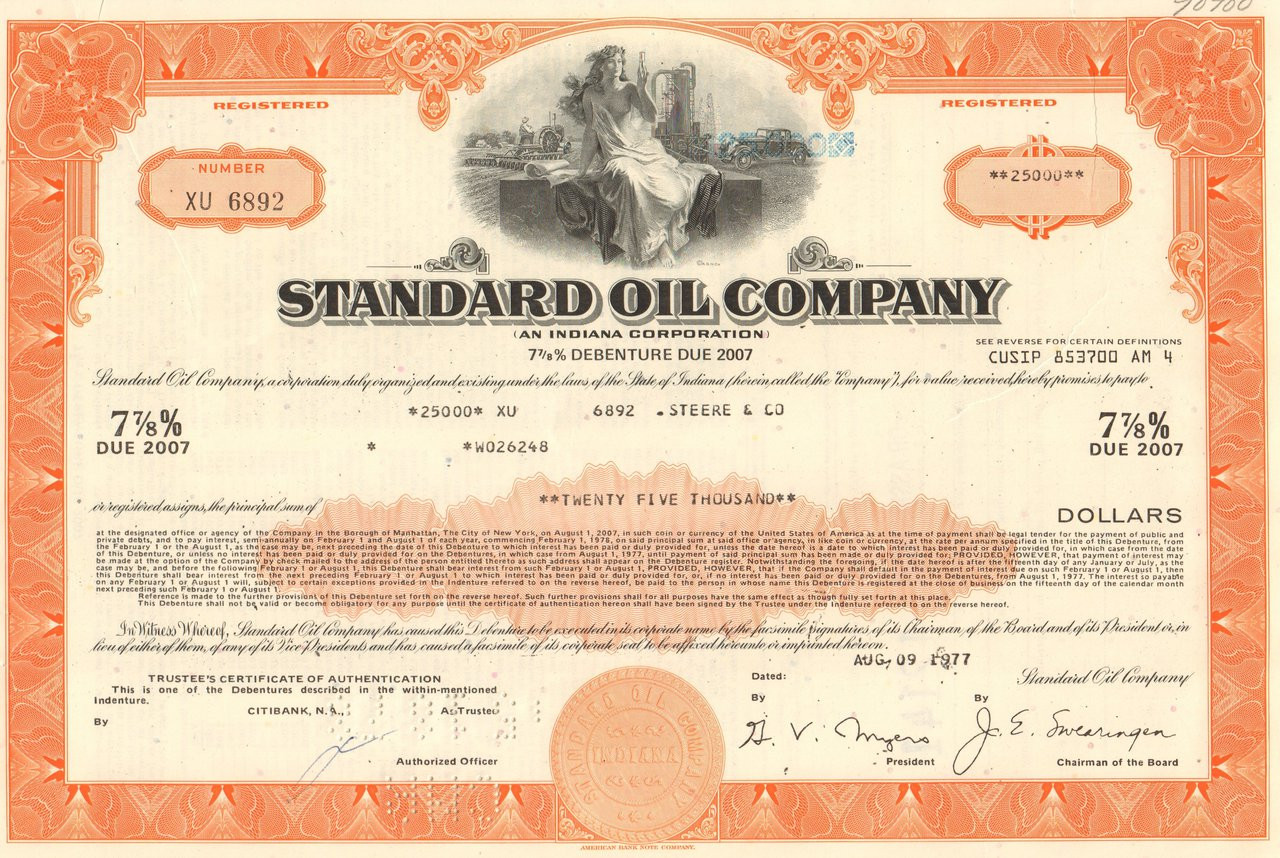 Standard Oil Company /> 1970/'s $25,000 bond certificate
