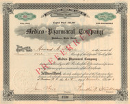 Medico-Pharmacal Company stock certificate 1903 (Rhode Island)