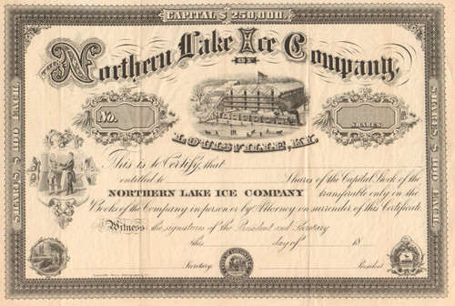 Northern Lake Ice Company stock certificate circa 1879 (Kentucky)