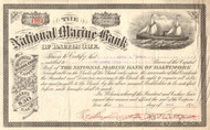 National Marine Bank stock certificate 1911 (Baltimore MD)