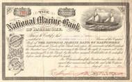 National Marine Bank stock certificate 1911 (Baltimore MD)