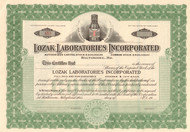 Lozak Laboratories stock certificate circa 1900 (Baltimore MD)