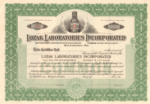 Lozak Laboratories stock certificate circa 1900 (Baltimore MD)