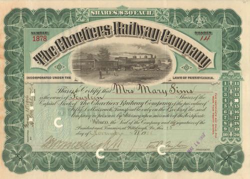 Chartiers Railway Company stock certificate 1906 (Pennsylvania)