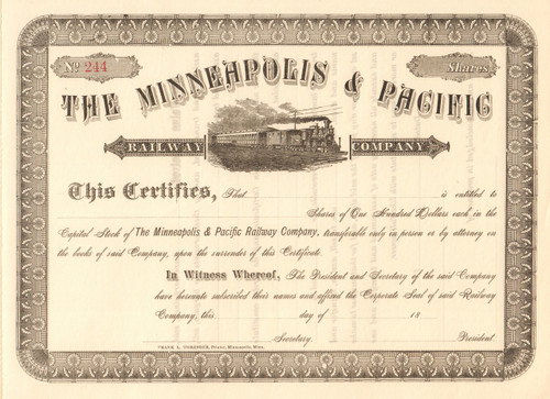 Minneapolis and Pacific Railway Company  stock certificate circa 1884 (Minnesota)