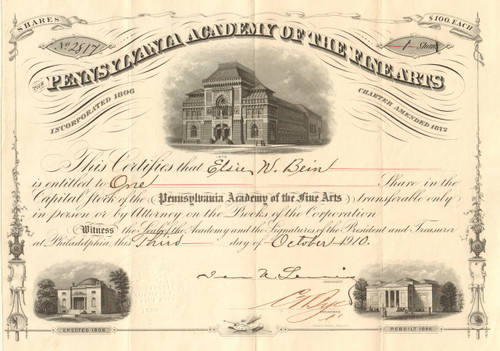 Pennsylvania Academy of the Fine Arts stock certificate (Philadelphia)