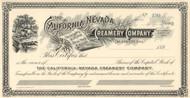California-Nevada Creamery Company stock certificate circa 1892 (Nevada)