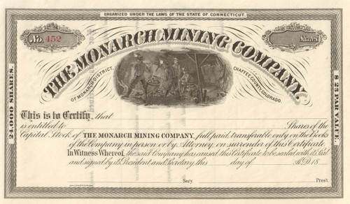 Monarch Mining Company stock certificate circa 1880 (Colorado)