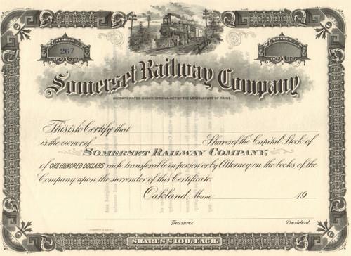 Somerset Railway Company stock certificate circa 1904 (Maine)