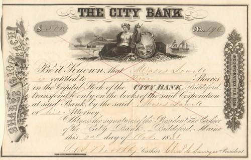 The City Bank stock certificate 1858 (Biddeford Maine)