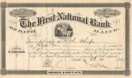 First National Bank stock certificate 1882 (Bath Maine)