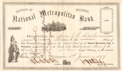 National Metropolitan Bank stock certificate 1877 (Washington DC)
