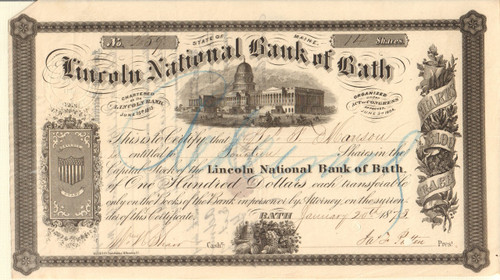 Lincoln National Bank of Bath stock certificate 1873 (Maine)