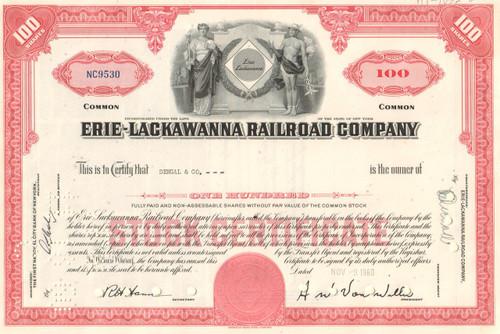Erie-Lackawanna Railroad Company stock certificate - red