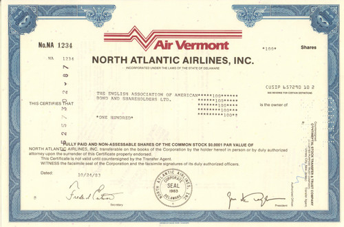 Air Vermont - North Atlantic Airlines stock certificate