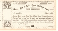 Green Bay and Lake Pepin Railway Company  stock certificate 1860's (Wisconsin)