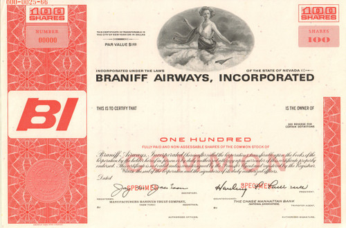 Braniff Airways Incorporated stock certificate specimen (circa 1966)