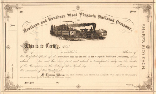 Northern and Southern West Virginia Railroad stock certificate 1870's (circa 1872)