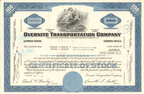 Overnite Transportation Company stock certificate 1970's (Virginia) - blue