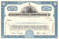 Detroit Steel Corporation stock certificate 1960's (Michigan) - blue