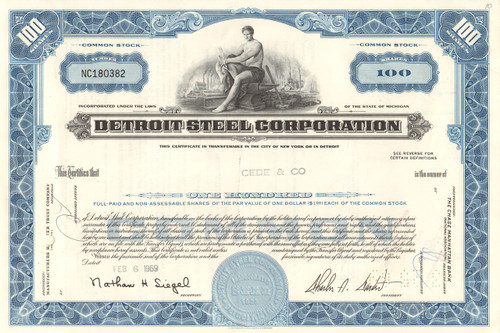 Detroit Steel Corporation stock certificate 1960's (Michigan) - blue