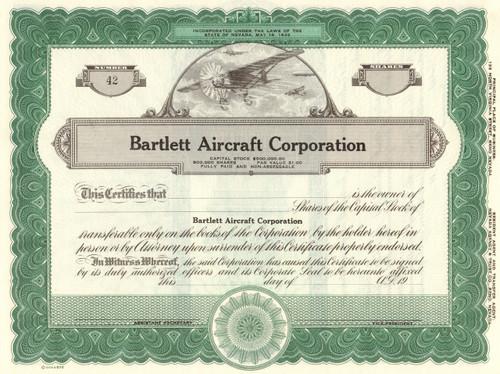Bartlett Aircraft Corporation stock certificate circa 1941 (California)