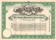 Export Steamship Corporation stock certificate 1920's (New York)