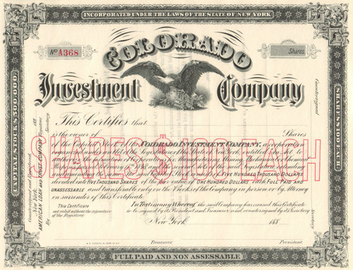 Colorado Investment Company stock certificate 1880's (New York)