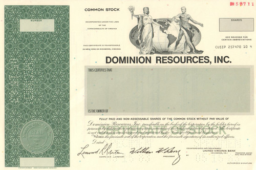 Dominion Resources Inc. stock certificate 1983 specimen (Virginia)