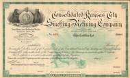 Consolidate Kansas City Smelting and Refining Company stock certificate 1880's (Missouri)