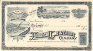 American Land and Trust Company stock certificate 1887 (California)
