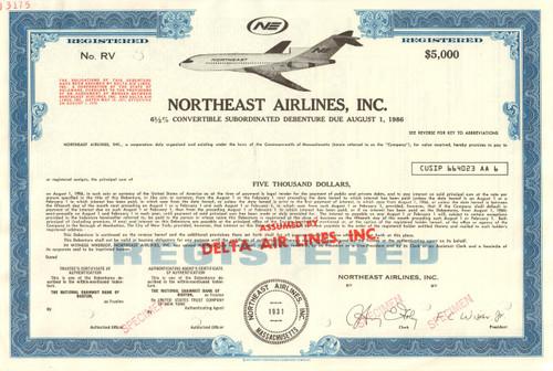 Northeast Airlines Inc. $5000 bond certificate specimen circa 1972