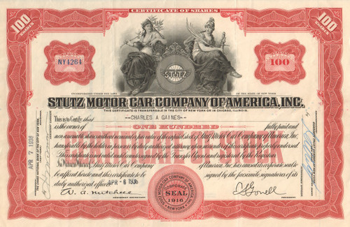Stutz Motor Car Company of America Inc. stock certificate 1936 (Indiana)
