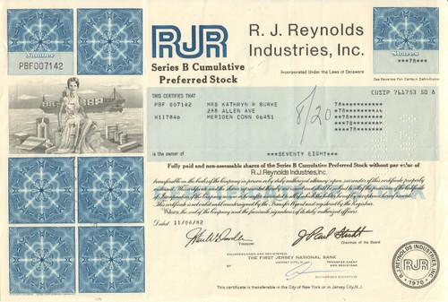 R. J. Reynolds Industries Inc. stock certificate 1980's (tobacco)