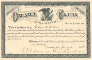 Omaha Club stock certificate 1886 (Nebraska)