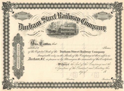 Durham Street Railway Company stock certificate 1891 (North Carolina)