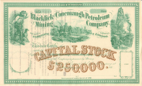 Blacklick and Conemaugh Petroleum and Mining Company stock certificate circa 1863 (Pennsylvania)