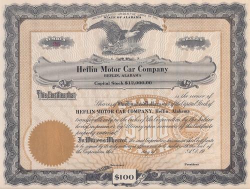 Heflin Motor Car Company stock certificate
