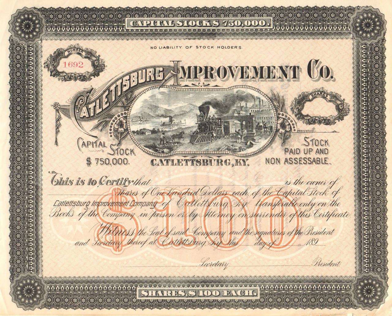 Catlettsburg Improvement Company Stock Certificate 1890s Kentucky