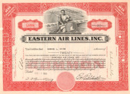 Eastern Air Lines stock certificate 1939 - Eddie Rickenbacker as president