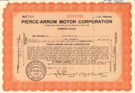 Pierce-Arrow Motor Corporation stock certificate 1937