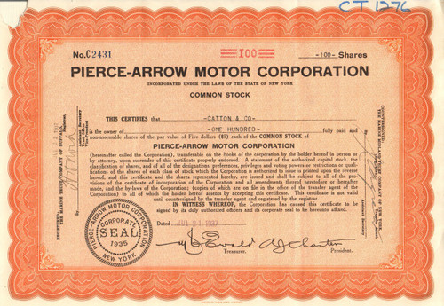 Pierce-Arrow Motor Corporation stock certificate 1937