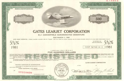 Gates Learjet Corporation bond certificate specimen circa 1969