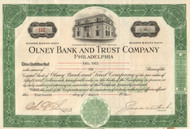 Olney Bank and Trust Company stock certificate 1929 (Philadelphia)