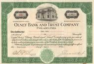 Olney Bank and Trust Company stock certificate 1929 (Philadelphia)