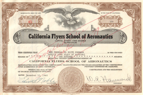 California Flyers School of Aeronautics stock certificate 1946 (Los Angeles)