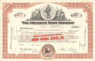 American News Company stock certificate 1970