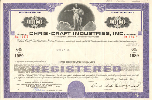 Chris-Craft Industries Inc. bond certificate 1969 (boating)