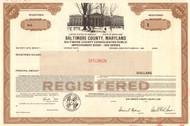 Baltimore County Maryland bond certificate specimen 1984