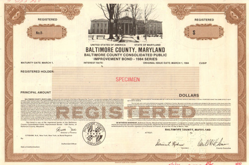 Baltimore County Maryland bond certificate specimen 1984